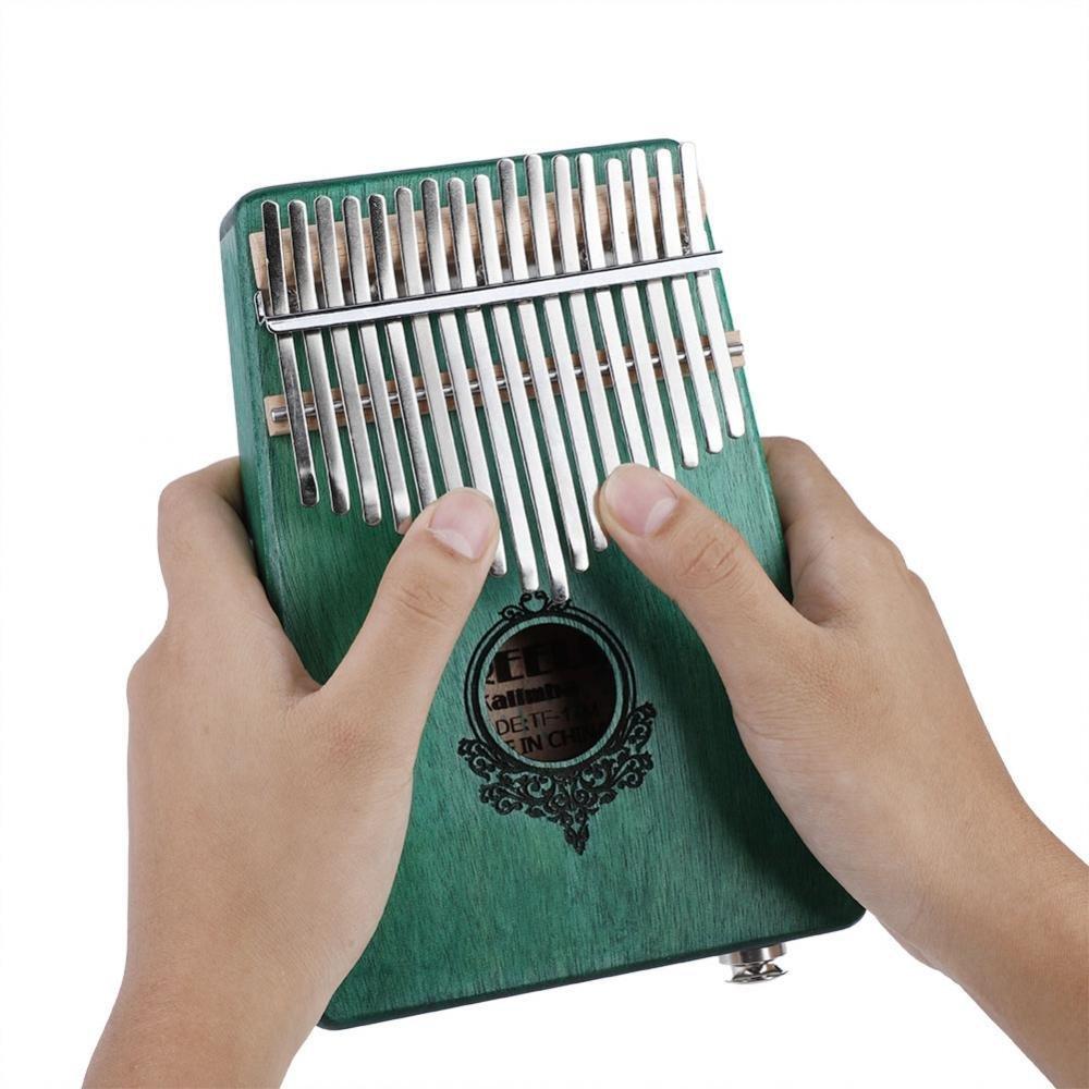 17 Key Finger Piano, Mahogany Portable Kalimba Pocket Size Piano with Build-in Pickup(Green) by Dilwe