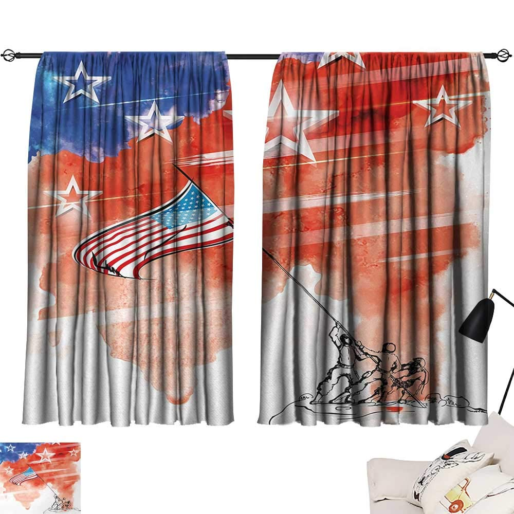 Jinguizi 4th of July Room/Bedroom, Watercolor Artwork of a Historical Scene Soldiers Planting The American Flag Pattern Darkening Curtains Multicolor W55 x L39 by Jinguizi (Image #1)