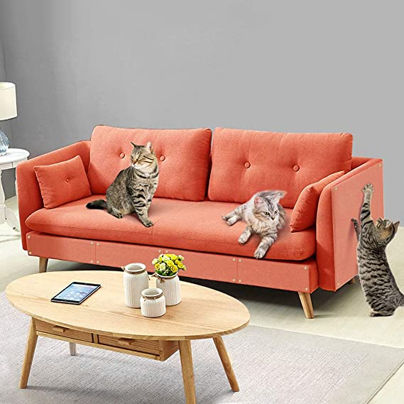 Pidsen 8 Pcs Furniture Protectors from Cats, Cat Scratch Deterrent Tape, Clear Self-Adhesive Pet Scratch Guard for Furniture, Sofa, Wall Protector Pad