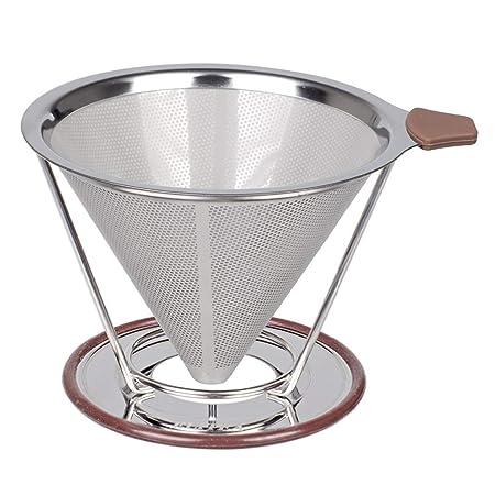 Filtro de café Cone, doble malla de acero inoxidable con agarre de ...