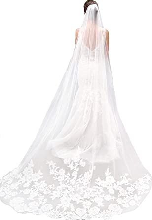 Wedding Veils White Ivory Long Cathedral Length With Comb Lace Bridal Veil 3M 1T