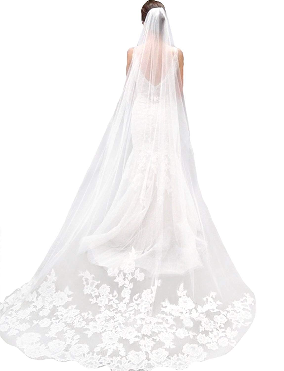 Sisjuly Women's 1T Floral Appliques Lace Chapel Long Wedding Veil with Comb One Size Ivory by Sisjuly