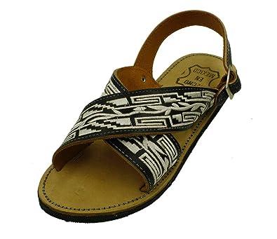 501ab427cd02f6 Dona Michi Men Leather Mexican Two Strap PITEADO Bordado Sandals (6) Black