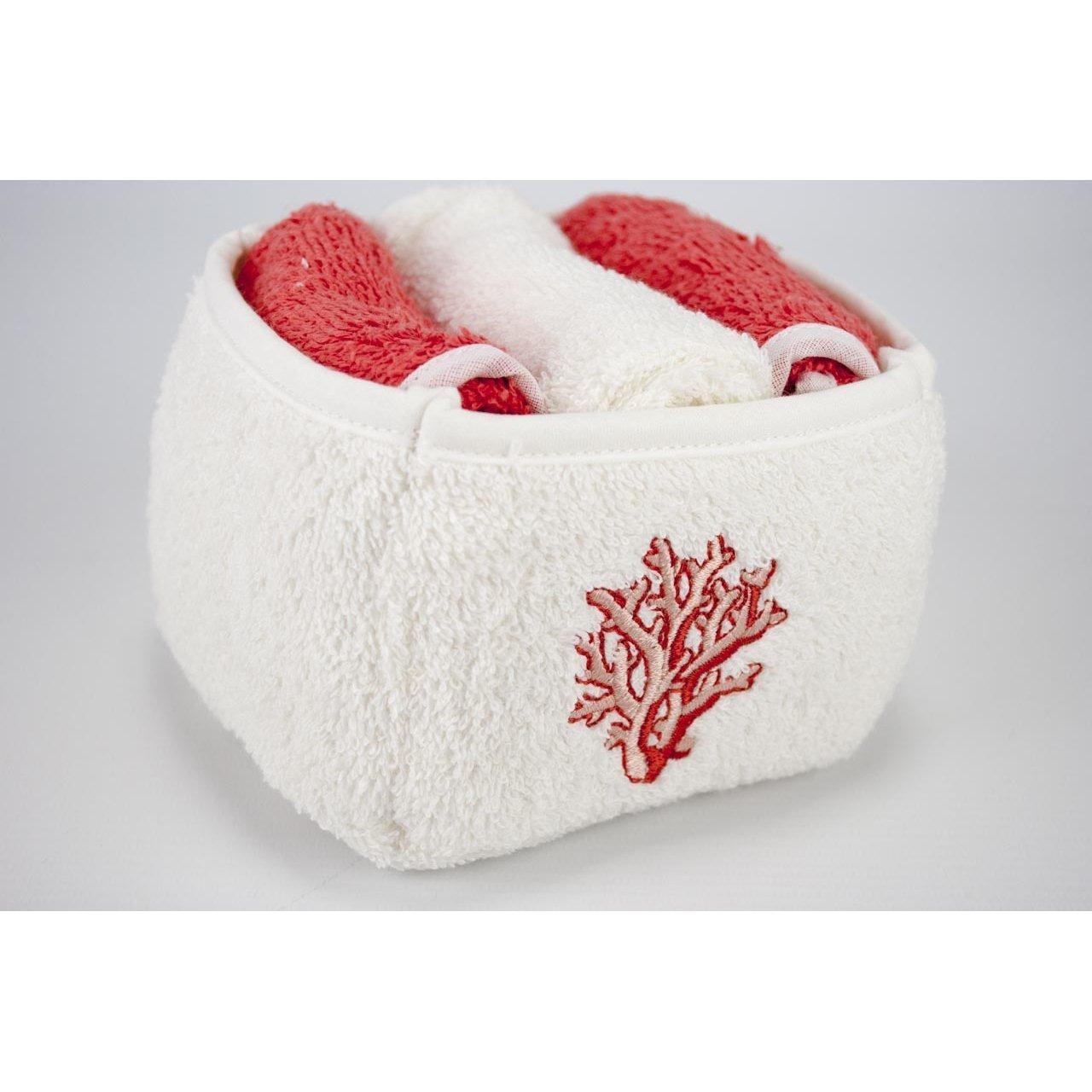 Cesta con 3 toallas con bordado de coral rojo, de tamaño pequeño, para invitados: Amazon.es: Hogar