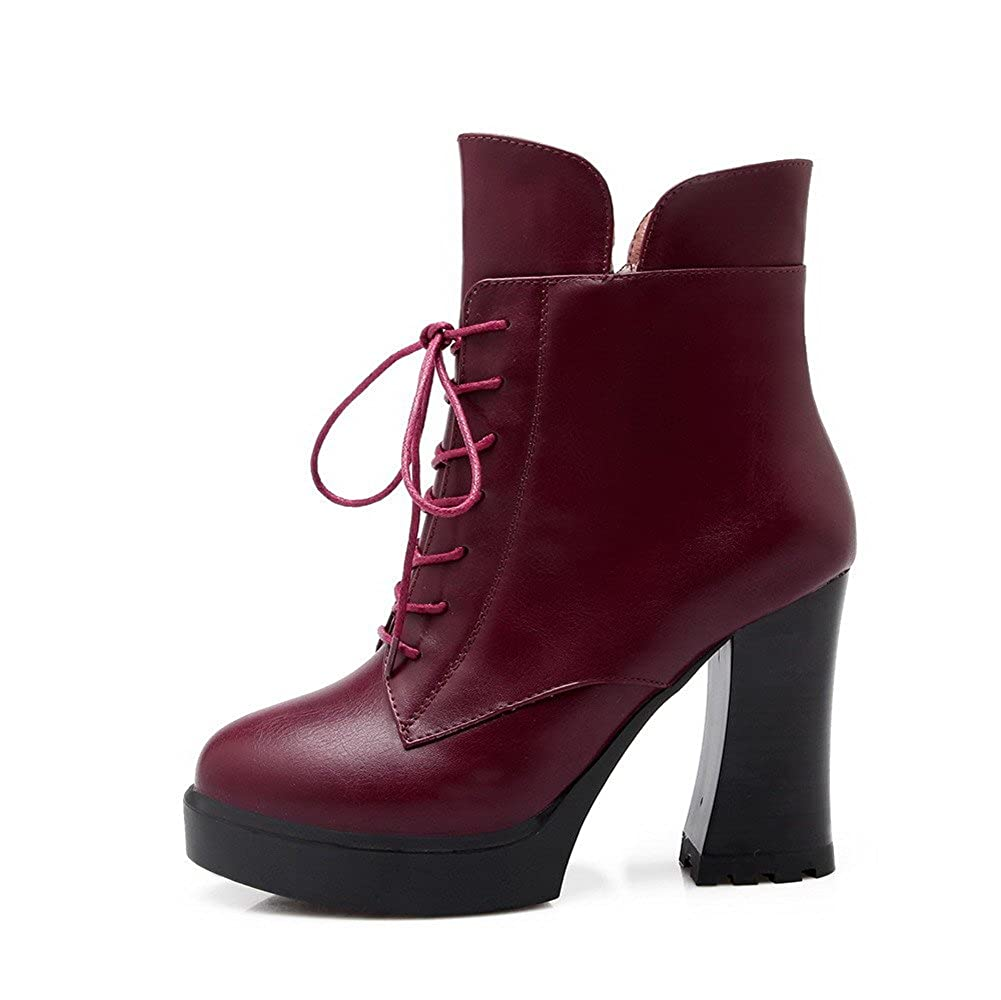 AllhqFashion Womens PU Blend Materials High-Heels Boots with Zippers and Slipping Sole