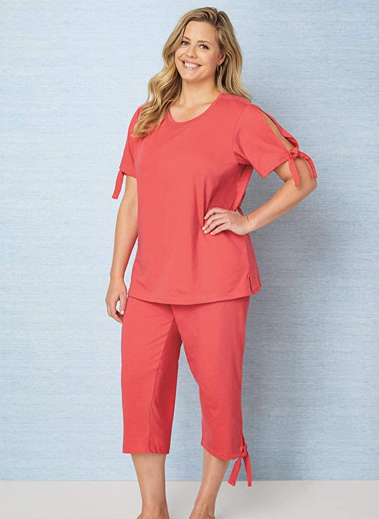AmeriMark Womens Capri Pantset with Slit Ties Casual Two Piece Outfit