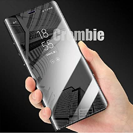 new style 95a84 b246a CROMBIE Leather Stand Luxury Mirror Clear View Flip Case for Samsung Note 5  (Black, 32894)