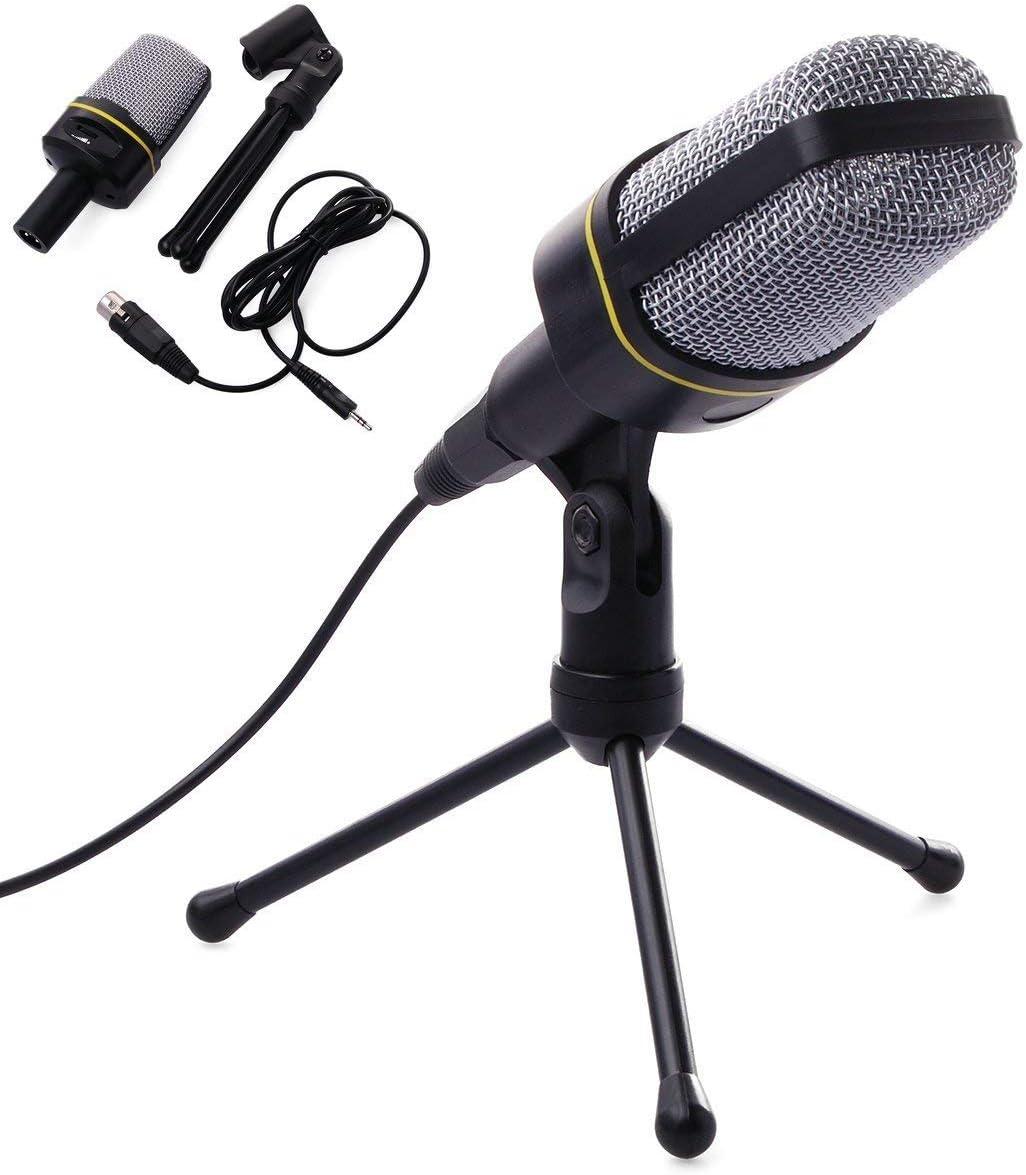 GJWHENS Kondensatormikrofon mit Stativ f/ür PC-Laptop-Computer Spiele Skype MSN zum Chatten Sound Studio Podcast-Aufnahme.