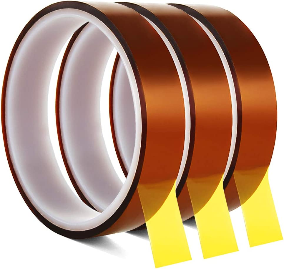 High Temperature Heat Resistant Tape SACONELL 20mmX20m Polyimide High Temperature Resistant Tape Sublimation Heat Tape for Masking and Soldering 3 Roll