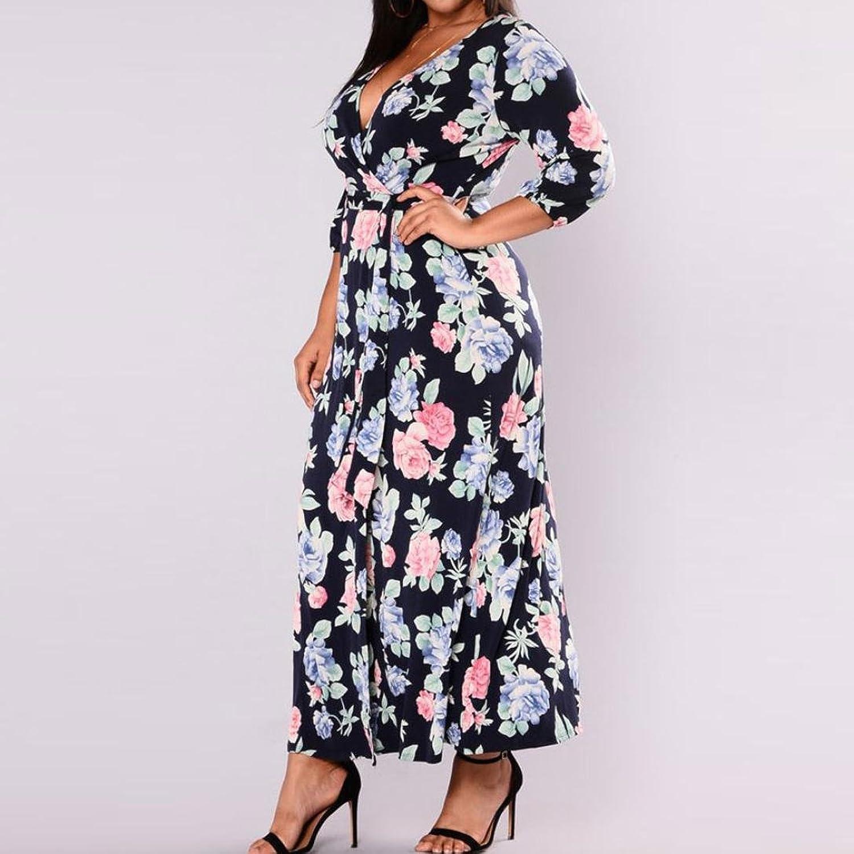 YunYoud Damen Große Größe Kleider Blumen gedruckt PartyKleid ...