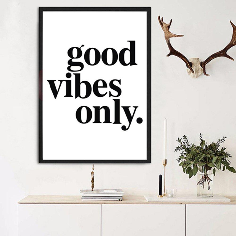 peinture murale avec texte /«/Good Vibes Only//» 50cm X 70cm 16 x 12 inches Toile Yeshi Affiche moderne et d/écorative