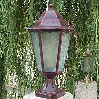 Luces solares de jardín faros farola poste de la lámpara de pared de la puerta exterior del faro (Size : D): Amazon.es: Iluminación