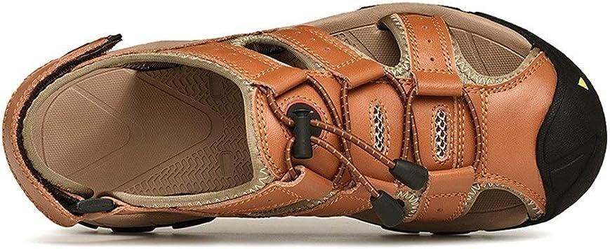 Watermelon Scarpe estive da Uomo Outdoor Timberland Sports Sandali Traforati Back Heel Velcro Close Toes (Color : Marrone, Dimensione : 38 EU)