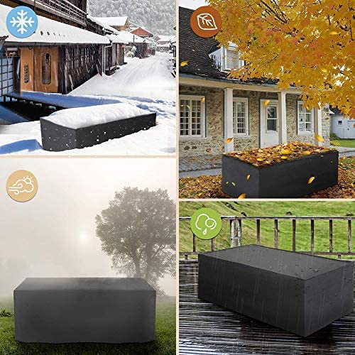 WAFWYY impermeabile e antipolvere rettangolare, in tessuto Oxford 420D Copertura per mobili da giardino per esterni anti-UV in PVC resistente per patio patio