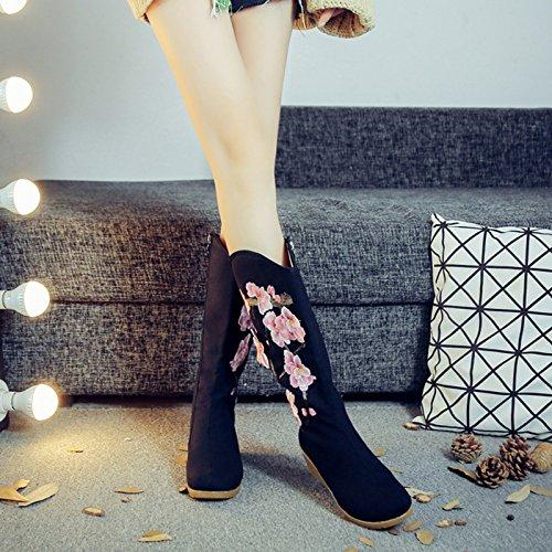 Du Seul De black KHSKX Vieux Des Bottes Talons Bottes Beijing Vent Brodés Chaussures Talon National wq8SdZSTnx