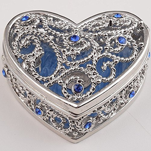 Keren Kopal Blue Heart Trinket Box Decorative Jewelry Box Home Decor for Collectors, Decorators, and (Heart Silver Trinket Box)