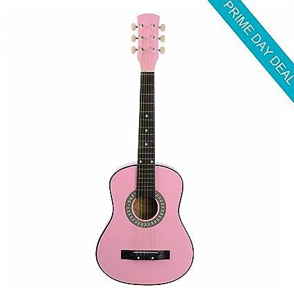 Viento 30 pulgadas 1/2 tamaño niños principiantes Guitarra Acústica Rosa del paquete Kit