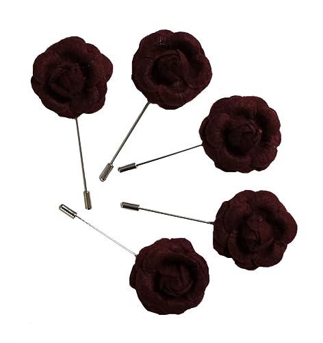Amazon.com  SRFP07 Women s Burgundy Flower Lapel Pin a067acbee