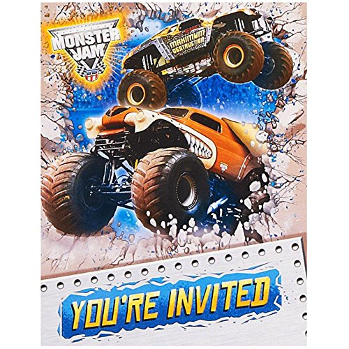 Monster Jam Party Supplies - Invitations (Monster Party Invitation)