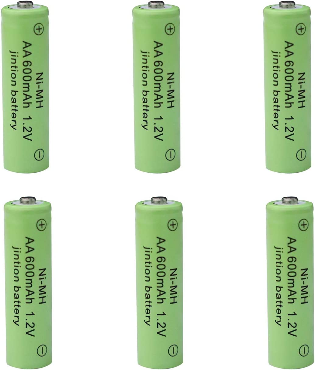 AA Rechargeable Batteries 1.2V 600mAh High Capacity Ni-MH for Solar Lights Garden Lantern (Pack of 6)