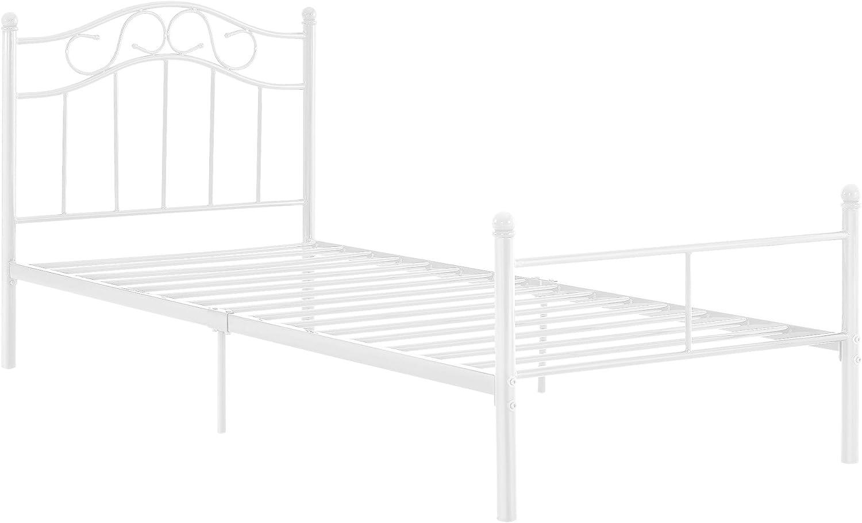 en.casa Lit Standard Cadre de Lit Standard en M/étal Acier Rev/êtu par Poudre Fritt/é Blanc 208 cm x 96 cm x 95 cm