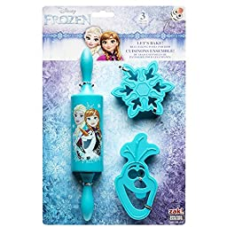 Zak Designs FZNN-S100 Disneys Frozen 3 Piece Kids Baking Set for Cookies, Decorated