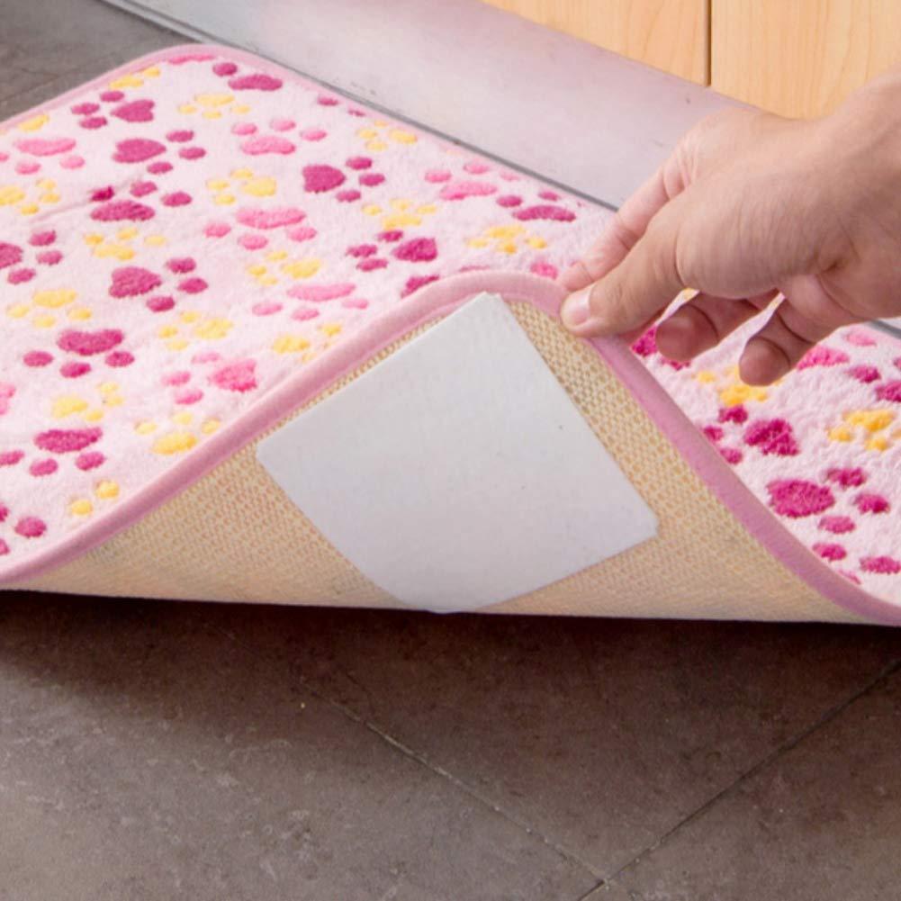 Cecelia May Adesivo di Tappeto Biadesivo per la Casa per il Fissaggio del Pavimento 4 Pezzi Tappeto Fortemente Antiscivolo Nastro