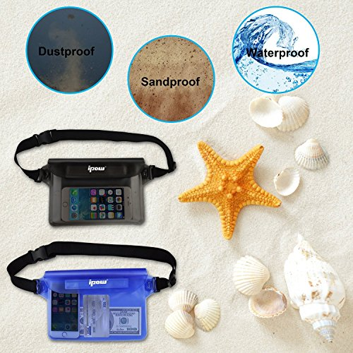 2-Pack-Ipow-Waterproof-Pouch-Bag-Case-Waist-Strap-for-Beach-Swim-Boating-Kayaking-Hiking-Etc-Protect-IphoneCellphoneCameraCashMp3Passport-Document-From-Water-Sand-Snow-Dust-and-Dirt