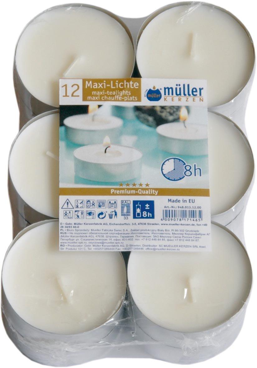 Maxi della luce Jumbo luci del tè in alluminio della copertura 12pezzi diametro 6cm Müller Kerzen