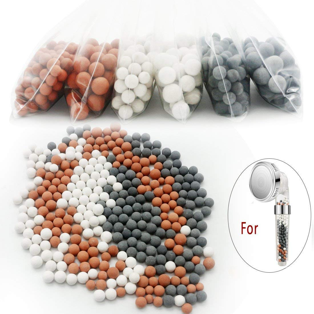 6 paquets ions né gatifs miné rale Balles, REMPLACEMENT Bio-actif Pierre pour Ionic filtre de douche Douchette, replacement boules miné rales pour Pomme de douche replacement boules minérales pour Pomme de douche