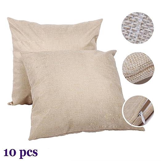 Funda de almohada H-E de lino/blanco liso con sublimación en ...