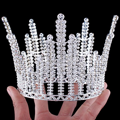 [FUMUD Height 3.9'' Wedding Bridal Tiara Crystal Rhinestone Silver Queen Big Crown Pageant Prom] (Crowns For Queens)