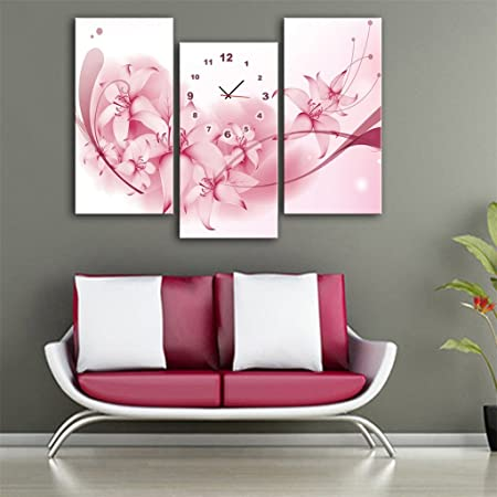 Simple Modern Style Sweet Flower Spray Painting Clock Creative ...
