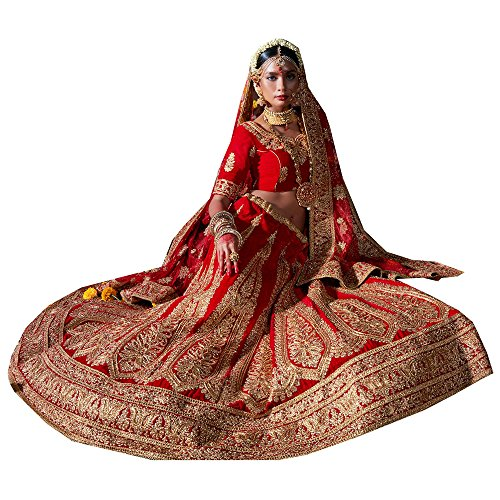 PCC Womens Velvet Fabric Red Pretty Unstitched Lehenga Choli 83740