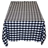 Table in a Bag BW4848 Square Polyester Gingham Tablecloth, 48-Inch by 48-Inch, Black and White Checkered Pattern