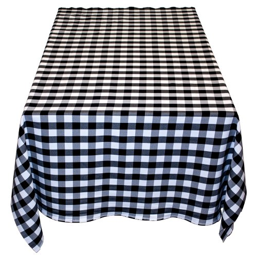 Table in a Bag BW6060 Square Polyester Gingham Tablecloth, 60-Inch by 60-Inch, Black and White Checkered Pattern by Table in a Bag