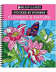Brain Games - Sticker by Number: Flowers & Nature (28 Images to Sticker)