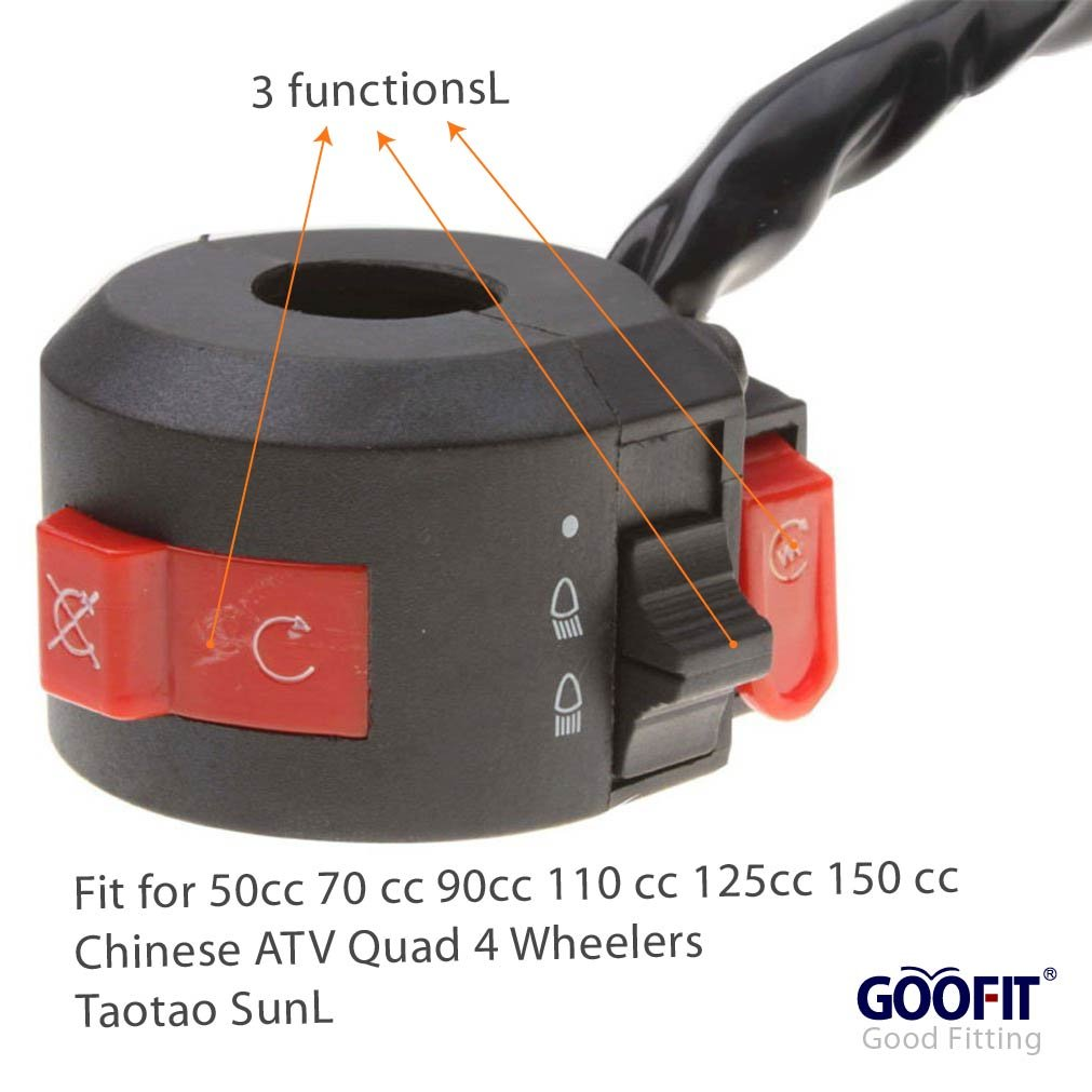 Goofit Left Switch Assembly For 50cc 70 Cc 90cc 110 Kazuma 150 Wiring Diagram 125cc 150cc Atvs Quad 4 Wheelers Taotao Sunl Coolster Automotive