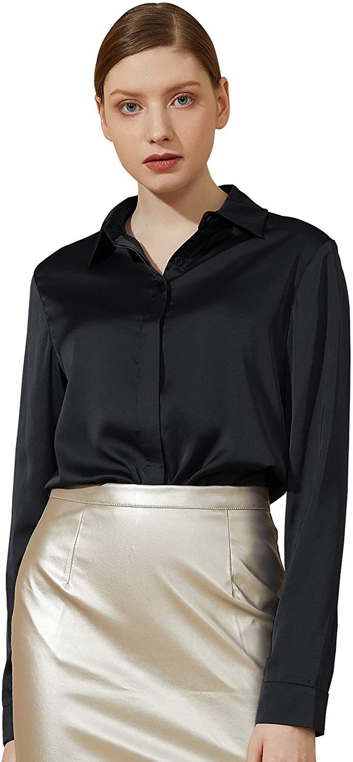 Escalier Women's Satin Silk Long Sleeve Button Down Shirt Casual Work Office Silky Blouse Top