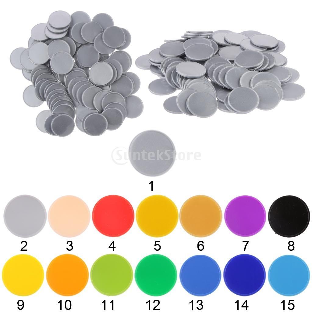 MagiDeal 200x Chip Di Plastica Da Carta Poker Chips Bingo Markers Tokens Gioco Da Tavolo Giocattolo rosso blu