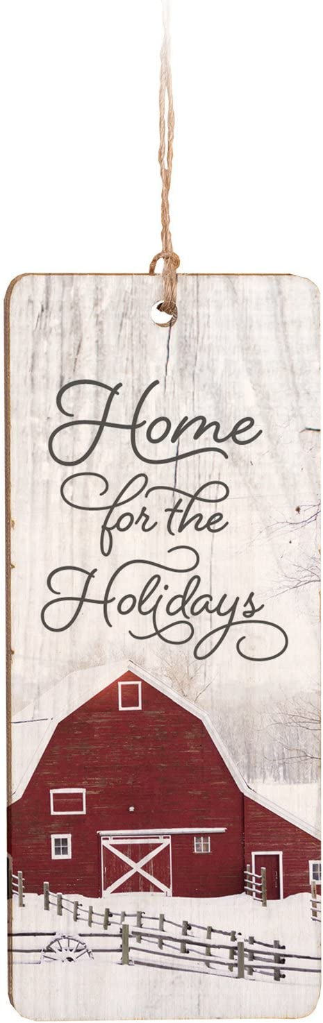 P. Graham Dunn Home for The Holidays Red Barn Design Stressed 4 Inch Wood Hanging Ornament