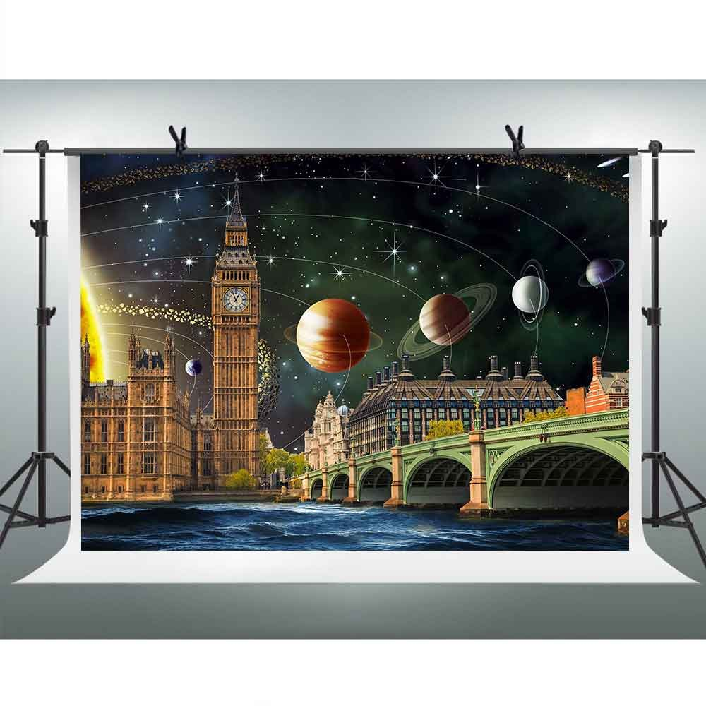 FHZON 7x5ft Famous Landscape Elizabeth Tower Clock Tower Big BenThames River Photography Backdrop Solar System Milky Way Planet Background Themed Party YouTube Backdrop Photo Booth Studio Props PFH360