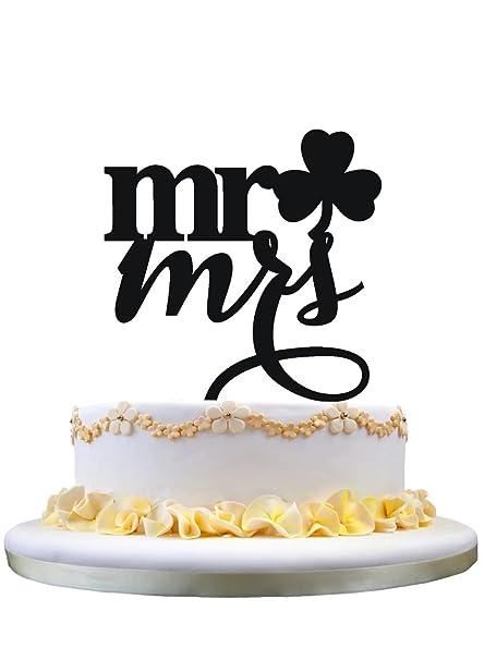 Toalla de la torta del compromiso, estilo rústico Srta. Wedding Cake Topper y señora