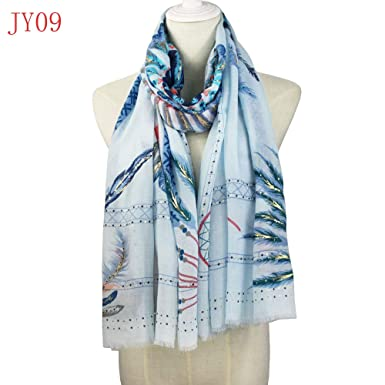 dc53dde26 Image Unavailable. Image not available for. Color: HITSAN INCORPORATION  Soft Cotton Long Feather Scarf Large golden silver foil print ...