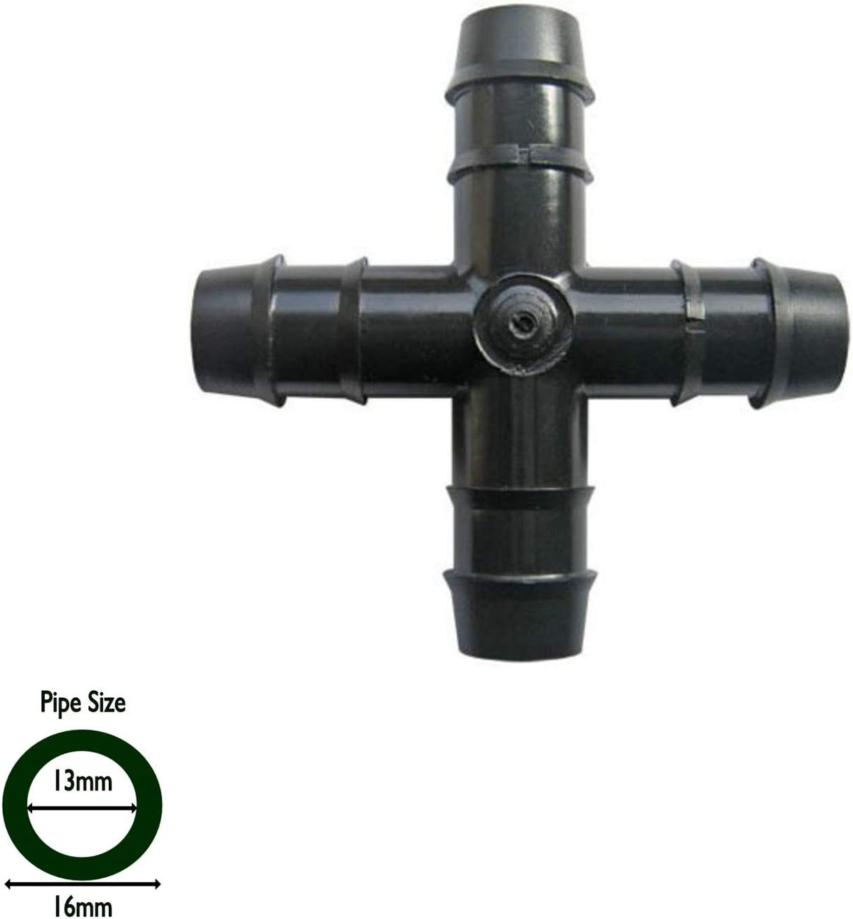 Hortafix Pipe Cross 13mm PK 5 Irrigation leaky and porous pipe connector ID