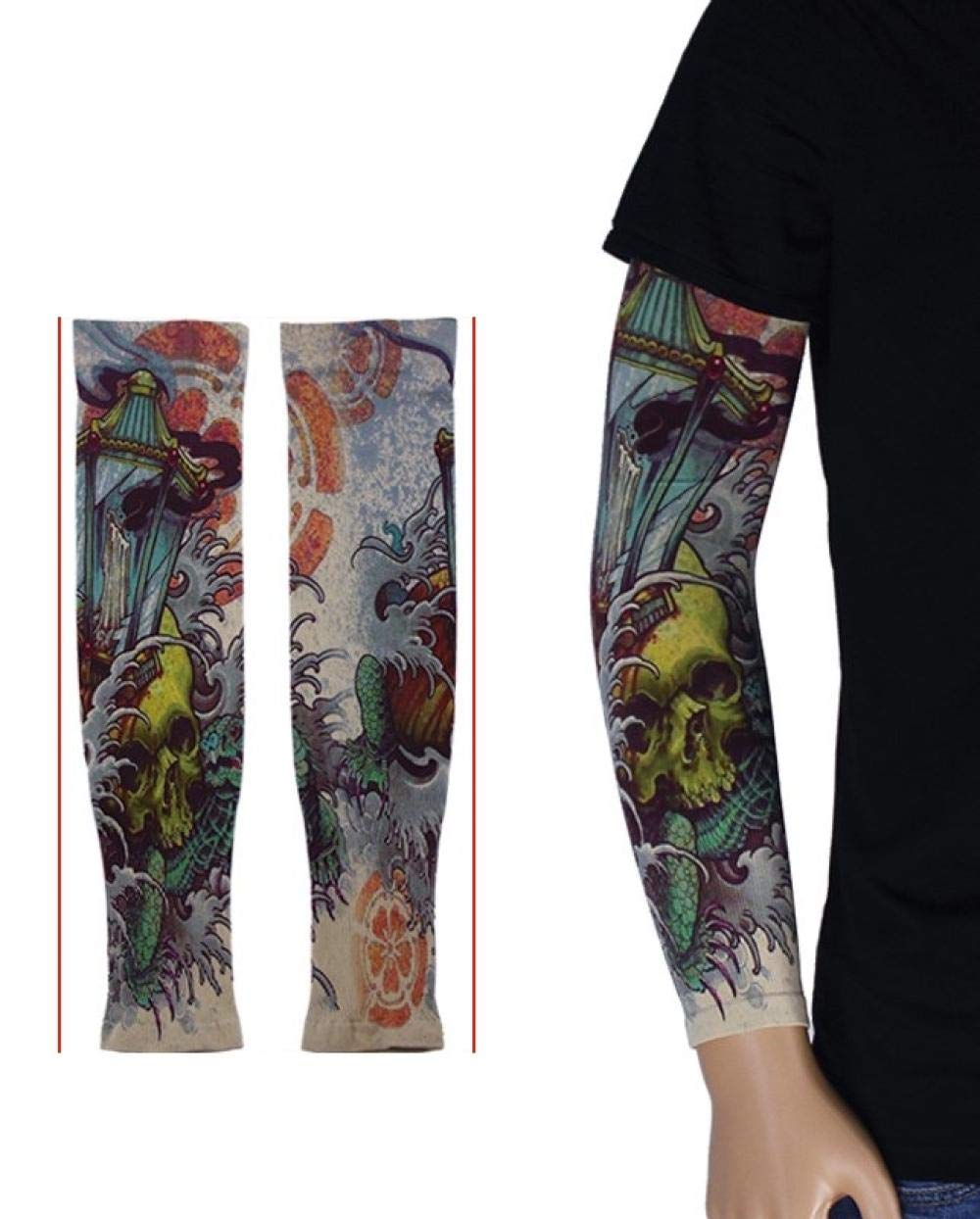 Ffooxxii Covering Tattoo Artifact Arm Set Men's Sun Protection Sleeve Driving Ice Cool Riding Armband Lady Summer Outdoor Flower Arm@One size_372