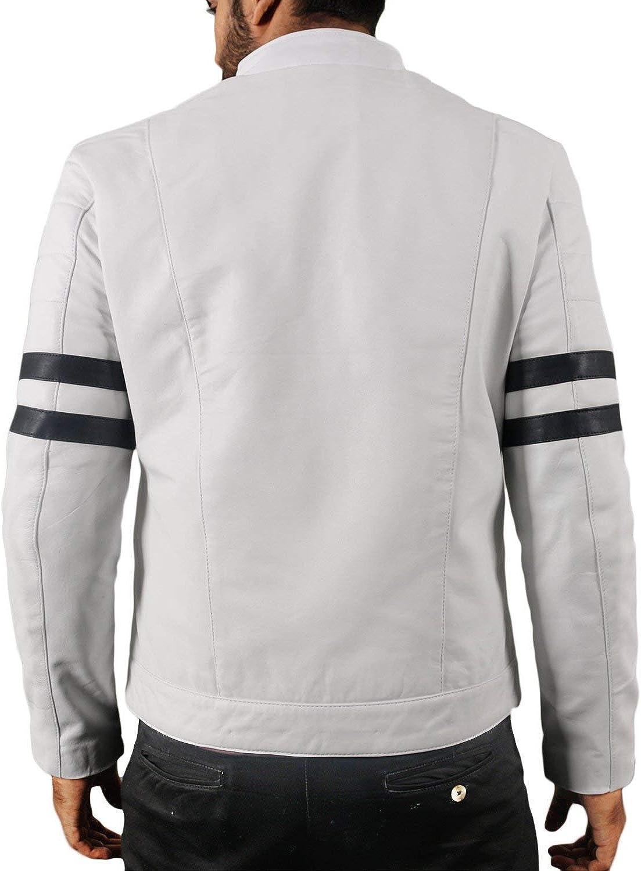 Le Craze Mens Guinuine Lambskin Leather Biker Motorcycle Slim Fit Leather Jacket