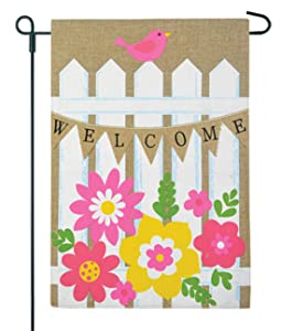 JEC Picket Fence Garden Flag Flower - Spring Welcome Design Burlap Garden Flag Summer Garden Flag, Double Sided 12.5 x 18