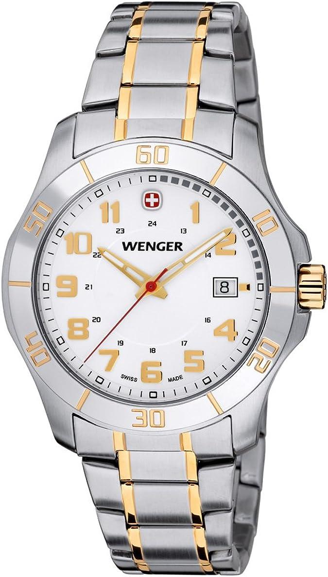 Wenger–Reloj de Pulsera para Hombre Alpine analógico de Cuarzo Acero Inoxidable 70477