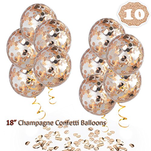 HoveBeaty Champagne Rose Gold Confetti Balloons, Round 18 Party Balloons Latex Transparent Champagne Balloons Gold Ribbon Wedding, Proposal, Birthday Party Decorations (10 Pack)